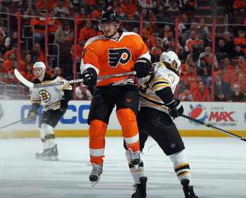 PHILADELPHIA, PA - APRIL 30: Nikolay Zherdev #93 of the Philadelphia Flyers skates against the Boston Bruins in Game One of the Eastern Conference Semifinals during the 2011 NHL Stanley Cup Playoffs at the Wells Fargo Center on April 30, 2011 in Philadelp