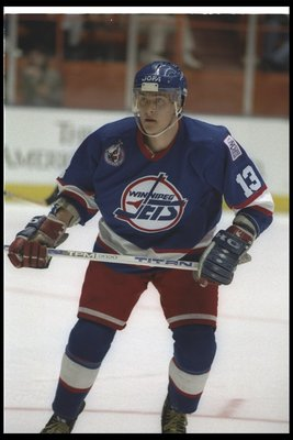 16 Jan 1993:  Rightwinger Teemu Selanne of the Winnipeg Jets looks on during a game against the Los Angeles Kings at the Great Western Forum in Inglewood, California. Mandatory Credit: Ken Levine  /Allsport
