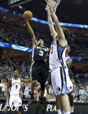 MEMPHIS, TN - APRIL 29: George Hill #3 of the San Antonio Spurs shoots the ball while defended by Marc Gasol #33 of the Memphis Grizzlies in Game Six of the Western Conference Quarterfinals in the 2011 NBA Playoffs at FedExForum on April 29, 2011 in Memph