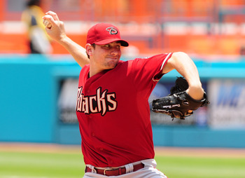 MIAMI GARDENS, FL - JUNE 12:  Pitcher Daniel Hudson #41 of the Arizona Diamondbacks throws against the Florida Marlins at Sun Life Stadium on June 12, 2011 in Miami Gardens, Florida.  (Photo by Jason Arnold/Getty Images)