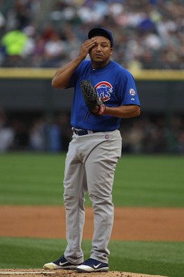 CHICAGO, IL - JUNE 20:  Starting pitcher Carlos Zambrano #38 of the Chicago Cubs prepares to pitch against the Chicago White Sox at U.S. Cellular Field on June 20, 2011 in Chicago, Illinois. The Cubs defeated the White Sox 6-3.  (Photo by Jonathan Daniel/