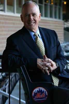 NEW YORK - OCTOBER 29:  Sandy Alderson poses for photographers after being introduced as the general manager for the New York Mets on October 29, 2010 at Citi Field in the Flushing neighborhood of the Queens borough of New York City.  (Photo by Andrew Bur