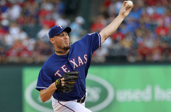ARLINGTON, TX - JUNE 24:  Matt Harrison #54 of the Texas Rangers throws against the New York Mets at Rangers Ballpark in Arlington on June 24, 2011 in Arlington, Texas.  (Photo by Ronald Martinez/Getty Images)