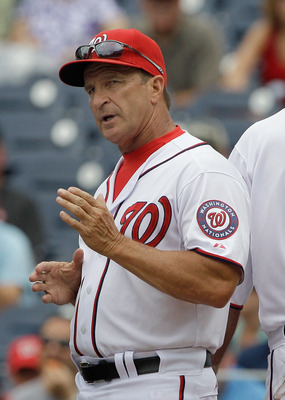 WASHINGTON, DC - JUNE 23:  Manager Jim Riggleman #5 of the Washington Nationals during the first inning against the Seattle Mariners at Nationals Park on June 23, 2011 in Washington, DC. According to reports, Riggleman has resigned as manager of the Natio