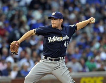 CHICAGO, IL - JUNE 13: Randy Wolf # 43 of the # Milwaukee Brewers Chicago Cubs pitches against the Chicago Cubs on June 13, 2011 at Wrigley Field in Chicago, Illinois.  (Photo by David Banks/Getty Images)