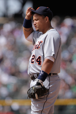 DENVER, CO - JUNE 19:  First baseman Miguel Cabrera #24 of the Detroit Tigers plays defense against the Colorado Rockies at Coors Field on June 19, 2011 in Denver, Colorado. The Tigers defeated the Rockies 9-1.  (Photo by Doug Pensinger/Getty Images)