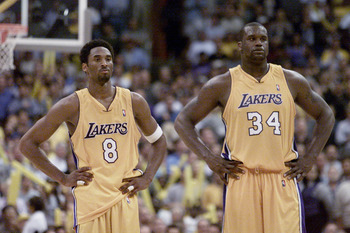 8 May 2001:  Shaquille O''Neal #34 and Kobe Bryant #8 of the Los Angeles Lakers during game two of the western conference semi-finals against the Sacramento Kings at the Staples Center in Los Angeles, California. The Lakers won 96-90. DIGITAL IMAGE.  Mand