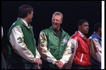 8 Feb 1997:  Kevin McHale (left) and Larry Bird celebrate with the other Greatest Players in NBA History before the All-Star game. Mandatory Credit: Brian Bahr  /Allsport