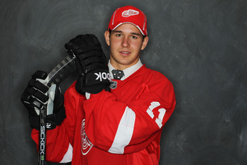 ST PAUL, MN - JUNE 25:  48th overall pick Xavier Ouellet by the Detroit Red Wings poses for a portrait during day two of the 2011 NHL Entry Draft at Xcel Energy Center on June 25, 2011 in St Paul, Minnesota.  (Photo by Nick Laham/Getty Images)