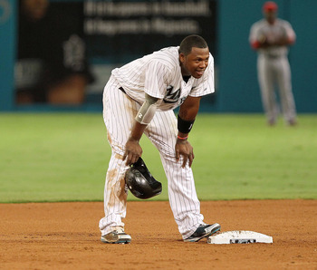 MIAMI GARDENS, FL - JUNE 21:  Hanley Ramirez #2 of the Florida Marlins stands on second after stealing a base in the sixth inning during a game against the Los Angeles Angels of Anaheim at Sun Life Stadium on June 21, 2011 in Miami Gardens, Florida.  (Pho