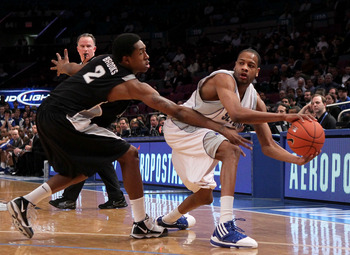 NEW YORK - MARCH 09: Robert Mitchell #23 of the Seton Hall Pirates looks to pass against Marshon Brooks #2 of the Providence Friars during the first round game of the Big East Basketball Tournament at Madison Square Garden on March 9, 2010 in New York, Ne