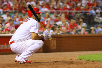 ST. LOUIS, MO - JUNE 17: Albert Pujols #5 of the St. Louis Cardinals waits on deck against the Kansas City Royals at Busch Stadium on June 17, 2011 in St. Louis, Missouri.  (Photo by Dilip Vishwanat/Getty Images)