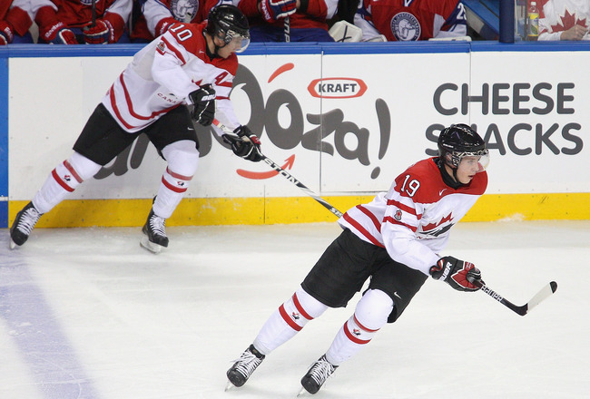 BUFFALO, NY - DECEMBER 29: Ryan Johansen #19 and Brayden Schenn #10 of Canada skate against  Norway during the 2011 IIHF World U20 Championship game between Canada and Norway  on December 29, 2010 in Buffalo, New York. Canada won 10-1.  (Photo by Rick Ste