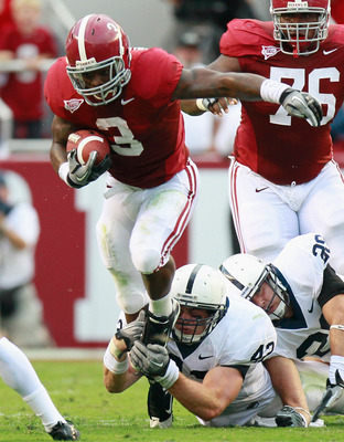 TUSCALOOSA, AL - SEPTEMBER 11:  Trent Richardson #3 of the Alabama Crimson Tide is tackled by Michael Mauti #42 of the Penn State Nittany Lions at Bryant-Denny Stadium on September 11, 2010 in Tuscaloosa, Alabama.  (Photo by Kevin C. Cox/Getty Images)