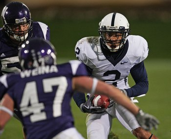 EVANSTON, IL - OCTOBER 31: Chaz Powell #2 of the Penn State Nittany Lions runs after a catch as Nate Williams #57 and Ricky Weina #47 of the Northwestern Wildcats close in at Ryan Field on October 31, 2009 in Evanston, Illinois. Penn State defeated Northw