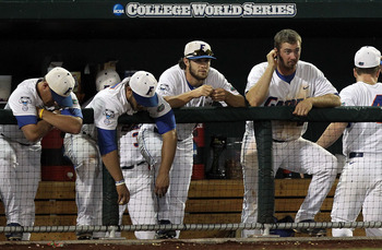 OMAHA, NE - JUNE 27:  The Florida Gators react in a 2-1 loss against the South Carolina Gamecocks during game 1 of the men's 2011 NCAA College Baseball World Series at TD Ameritrade Park Omaha on June 27, 2011 in Omaha, Nebraska.  (Photo by Ronald Martine
