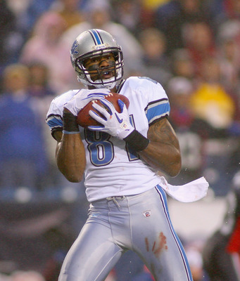 ORCHARD PARK, NY - NOVEMBER 14:  Calvin Johnson #81 of the Detroit Lions catches a touchdown pass in the last minute of the game against the Buffalo Bills at Ralph Wilson Stadium on November 14, 2010 in Orchard Park, New York. The Bills won 14-12.  (Photo