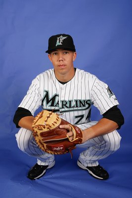 JUPITER, FL - FEBRUARY 22:  Kyle Skipworth #74 of the Florida Marlins poses during photo day at Roger Dean Stadium on February 22, 2009 in Jupiter, Florida.  (Photo by Doug Benc/Getty Images)