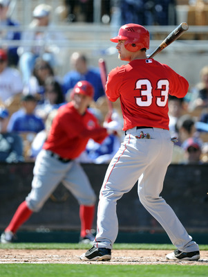 PHOENIX, AZ - FEBRUARY 27:  Chris Pettit #33 of the Los Angeles Angels of Anaheim at bat against the  Los Angeles Dodgers during spring training at Camelback Ranch on February 27, 2011 in Phoenix, Arizona.  (Photo by Harry How/Getty Images)