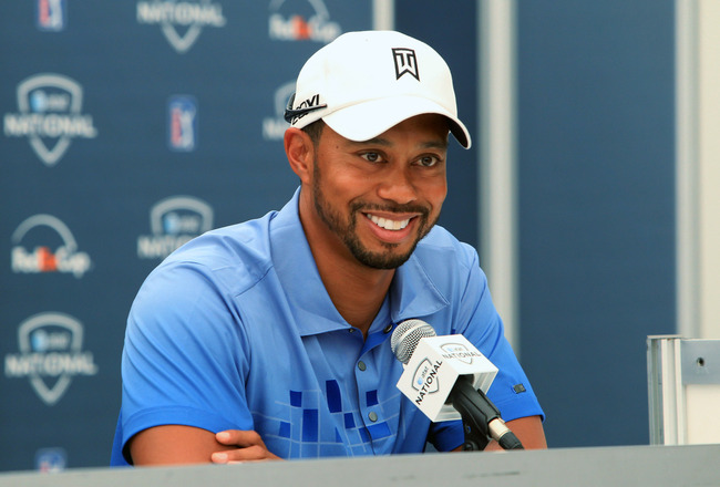 NEWTOWN SQUARE, PA - JUNE 28: Tiger Woods speaks to the media during a press conference before the AT&T National at Aronimink Golf Club on June 28, 2011 in Newtown Square, Pennsylvania. (Photo by Hunter Martin/Getty Images)