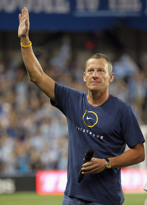 KANSAS CITY, KS - JUNE 09:  Lance Armstrong speaks to the crowd prior to the innaugural game between the Chicago Fire and Sporting Kansas City at LiveStrong Sporting Park on June 9, 2011 in Kansas City, Kansas.  (Photo by Jamie Squire/Getty Images)