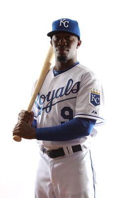 SURPRISE, AZ - FEBRUARY 23:  Derrick Robinson #9 of the Kansas City Royals poses for a portrait during Spring Training Media Day on February 23, 2011 at Surprise Stadium in Surprise, Arizona..  (Photo by Jonathan Ferrey/Getty Images)