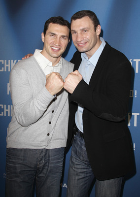 BERLIN, GERMANY - APRIL 07:  (L-R) Wladimir Klitschko and his brother Vitali Klitschko attend a photocall to promote the 'Klitschko' documentary movie at Astor Film Lounge on April 7, 2011 in Berlin, Germany.  (Photo by Andreas Rentz/Getty Images)