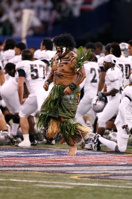 NEW ORLEANS - JANUARY 01:  The mascot of the Hawai'i Warriors performs against the Georgia Bulldogs during the Allstate Sugar Bowl at the Louisiana Superdome on January 1, 2008 in New Orleans, Louisiana. Georgia won 41-10. (Photo by Chris Graythen/Getty I