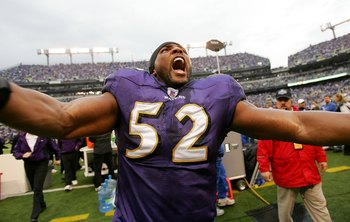 BALTIMORE - JANUARY 13:  Ray Lewis #52 of the Baltimore Ravens screams to the crowd before taking on the Indianapolis Colts in their AFC Divisional Playoff game on January 13, 2007 at M&T Bank Stadium in Baltimore, Maryland.  (Photo by Doug Pensinger/Gett