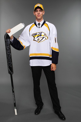 ST PAUL, MN - JUNE 25:  38th overall pick Magnus Hellberg by the Nashville Predators poses for a photo portrait during day two of the 2011 NHL Entry Draft at Xcel Energy Center on June 25, 2011 in St Paul, Minnesota. (EDITOR'S NOTE: This image has been di