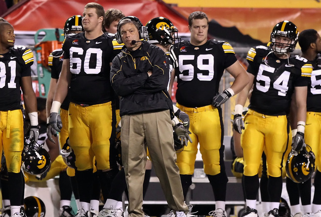 TEMPE, AZ - DECEMBER 28:  Head coach Kirk Ferentz of the Iowa Hawkeyes during the Insight Bowl against the Missouri Tigers at Sun Devil Stadium on December 28, 2010 in Tempe, Arizona.  The Hawkeyes defeated the Tigers 27-24.  (Photo by Christian Petersen/