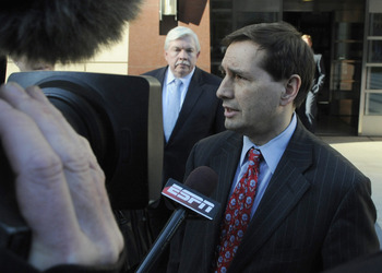 MINNEAPOLIS, MN - MAY 16: NFL players' lead attorney Jeffrey Kessler speaks to members of the media after leaving court-ordered mediation at the U.S. Courthouse on May 16, 2011 in Minneapolis, Minnesota. Mediation was ordered after a hearing on an antitru