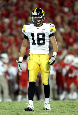TUCSON, AZ - SEPTEMBER 18:  Cornerback Micah Hyde #18 of the Iowa Hawkeyes during the college football game against the Arizona Wildcats at Arizona Stadium on September 18, 2010 in Tucson, Arizona.  The Wildcats defeated the Hawkeyes 34-27.  (Photo by Chr