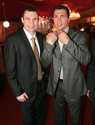 MUNICH, GERMANY - NOVEMBER 27: Vitali Klitschko and Wladimir Klitschko attend the Laureus Media Award on November 27, 2006 in Munich, Germany. (Photo by Theo Klein/Getty Images)
