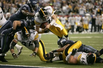 DETROIT - FEBRUARY 05:  Quarterback Ben Roethlisberger #7 of the Pittsburgh Steelers leaps into the end zone for a 1 yard touchdown in the second quarter against the Seattle Seahawks in Super Bowl XL at Ford Field on February 5, 2006 in Detroit, Michigan.