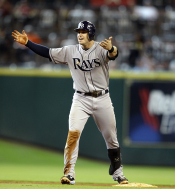 HOUSTON - JUNE 26:  Evan Longoria #3 of the Tampa Bay Rays reacts after he thought he had hit a home run against the Houston Astros at Minute Maid Park on June 26, 2011 in Houston, Texas. Play was reviewed by the umpires and confirmed a home run.  (Photo
