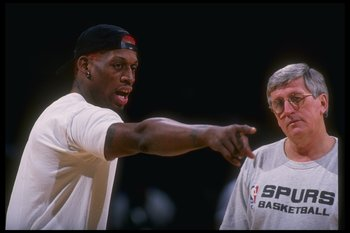 20 Jan 1995:  Forward Dennis Rodman of the San Antonio Spurs confers with a coach during a game against the Miami Heat at the Miami Arena in Miami, Florida. Mandatory Credit: Allsport  /Allsport Mandatory Credit: Allsport  /Allsport