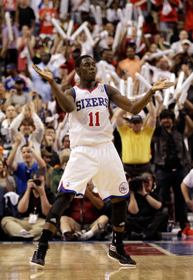 PHILADELPHIA, PA - APRIL 24: Jrue Holiday #11 of the Philadelphia 76ers celebrates after scoring against the Miami Heat in the fourth quarter of Game Four of the Eastern Conference Quarterfinals in the 2011 NBA Playoffs at Wells Fargo Center on April 24,