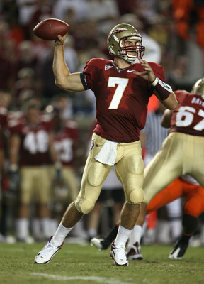 TALLAHASSEE, FL - SEPTEMBER 07:  Quarterback Christian Ponder #7 of the Florida State Seminoles throws a pass against the Miami Hurricanes at Doak Campbell Stadium on September 7, 2009 in Tallahassee, Florida.  (Photo by Doug Benc/Getty Images)