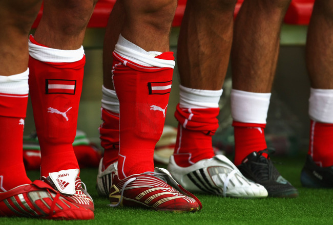 VIENNA, AUSTRIA - JUNE 08: A close up of the boots and socks of some Austrian players during the UEFA EURO 2008 Group B match between Austria and Croatia at Ernst Happel Stadion on June 8, 2008 in Vienna, Austria.  (Photo by Clive Rose/Getty Images)