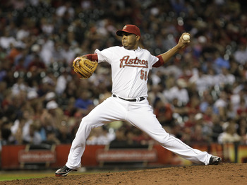 HOUSTON, TX - APRIL 09 : Relief pitcher Fernando Abad #58  of the Houston Astros pitches against the Florida Marlins in a MLB game on April 9, 2011 at Minute Maid Park in Houston, Texas. The Marlins won 7 to 5 . (Photo by Thomas B. Shea / Getty Images)