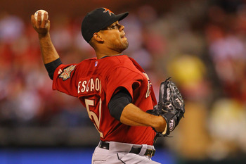 ST. LOUIS, MO - MAY 18: Reliever Sergio Escalona #52 of the Houston Astros pitches against the St. Louis Cardinals at Busch Stadium on May 18, 2011 in St. Louis, Missouri.  (Photo by Dilip Vishwanat/Getty Images)