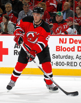 NEWARK, NJ - APRIL 02:  Andy Greene #6 of the New Jersey Devils skates during an NHL hockey game against the Montreal Canadians at the Prudential Center on April 2, 2011 in Newark, New Jersey.  (Photo by Paul Bereswill/Getty Images)