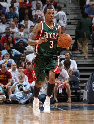 ATLANTA - MAY 2:  Guard Brandon Jennings #3 of the Milwaukee Bucks dribbles with the ball during Game Seven of the Eastern Conference Quarterfinals between the Milwaukee Bucks and the Atlanta Hawks during the 2010 NBA Playoffs at Philips Arena on May 2, 2