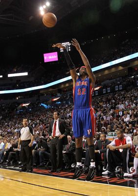 MIAMI, FL - DECEMBER 01: Richard Hamilton #32 of the Detroit Pistons shoots a jumpshot  during a game against the Miami Heat at American Airlines Arena on December 1, 2010 in Miami, Florida. NOTE TO USER: User expressly acknowledges and agrees that, by do