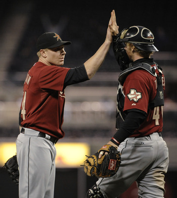 SAN DIEGO, CA-JUNE 2:  Mark Melancon #54, left, of the Houston Astros is congratulated by teammate J.R. Towles #46 during the ninth inning of a baseball game against the San Diego Padres at Petco Park on June 2, 2011 in San Diego, California.  The Astros