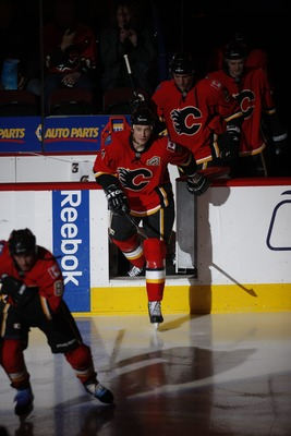CALGARY, CANADA - FEBRUARY 7: Jay Bouwmeester #4 of the Calgary Flames skates against the Chicago Blackhawks on February 7, 2011 at Scotiabank Saddledome in Calgary, Alberta, Canada. (Photo by Dale MacMillan/Getty Images)