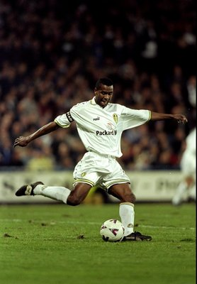 7 Nov 1999:  Lucas Radebe of Leeds United in action during the FA Carling Premiership match against Wimbledon at Selhurst Park, London. Wimbledon won the game 2 - 0. \ Mandatory Credit: Gary Prior /Allsport
