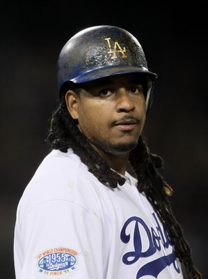 LOS ANGELES, CA - APRIL 15:  Manny Ramirez of the Los Angeles Dodgers plays against the Arizona Diamondbacks at Dodger Stadium on April 15, 2010 in Los Angeles, California.  (Photo by Jeff Gross/Getty Images)