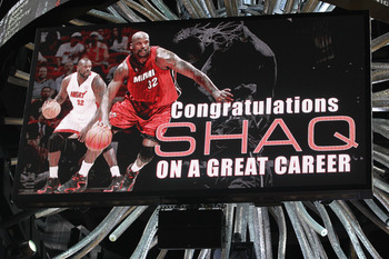 MIAMI, FL - JUNE 02: Former Miami Heat player Shaquille O'Neal is honored on the video board after he announced his retirment from the NBA yesterday as the Miami Heat play against the Dallas Mavericks in Game Two of the 2011 NBA Finals at American Airline